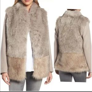 Ombre Cream and Beige Elie Tahari Faux Fur Coat